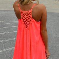 Vestidos casuais cuhakci chiffon mini vestido mulheres verão praia sem mangas fluorescence roupa feminina solta 3xl mais tamanho