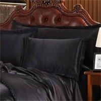 Wholesale-preto conjuntos de cama de luxo sólido cetim de seda 4 pçs rainha king size home têxteis camas de cama de linho tampa de edredão conjunto de cama 711 k2