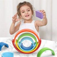 Vamos a hacer bloques de arco iris Baby Wood Toy Montessori Building DIY Creative Stacking Balance juego para niños Niños Regalo 210811