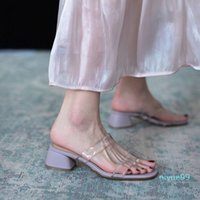 Slippers Women Ladies Transparent PVC 5cm Square Heel Light All-Match Slip-Ons Outdoor Beach Comfortable Slides Woman Sandals