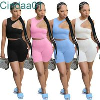 Women Tracksuits Two Pieces Set Deisgner Outfits Solid Color Hollow Out Sleeveless Off Shoulder Shorts Suit Ladies Clothing 4 Colours