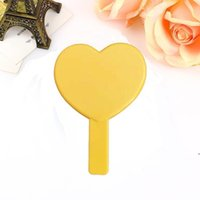 DHL Heart Shaped Travel Handheld Mirror, Cosmetic Hand Mirror with Handle Makeup Mirrors Cute love shape Cosmetic Tool DWE4967