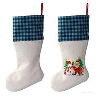 Sublimation Buffalo Plaid Christmas Stocking 4 Colors Blank Halloween Candy Socks Santa Gift Bag Xmas Tree Ornament T9I001387