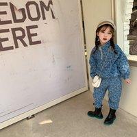 Moda Yeni Çocuk Denim Kıyafetler 2021 Yeni Kızlar Mektup Yaka Fermuar Denim Kazak + Denim Rahat Pantolon 2 adet Moda Çocuklar Jean Setleri A6042