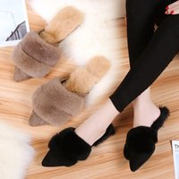Slippers ALLBITEFO Size 35-40 Pointed Toe Cold Winter Fashion Sweet Indoor Thick Plush Comfortable Keep Warm Flat Heel Shoes