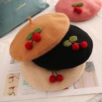 Women's Wotion Béret français confortable chapeau mignon chapeau fille Bonnet unisexe Cap Dôme Couleur solide Décorer avec des design de cerise Nouveau 2021