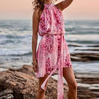 Summer Sleeveless Chiffon Print Dress Sexy Halter Pink Beach Vacation Dress Boho Women Loose Sash Short Party Sundress 2021 New