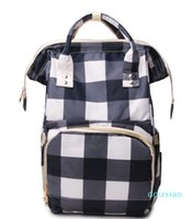 RTS White Black plaid Diaper Bag Wholesale Red Black grab handle Mummy Baby Care Nappy Bag Large Capacity Travel overnight Backpack DOM1276