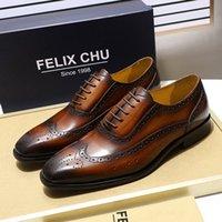 Felix Chu Clássico Wingtip Medalhão Brogue Oxford Menos Sapatos De Couro Genuíno Preto Marrom Lace Up Couro Sapatos Para Homens 210312