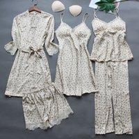 5PCS Leopard Pajamas Suit Spring New Lady Sleepwear Intimate Lingerie Satin Lace Sleep Set Nightwear Casual Home Clothing