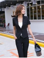Women's Suits & Blazers 2021 Fashion Summer Solid Color Top And Jacket Work Office Suit Slim Double Breasted Business Coat Thin
