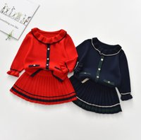Girls Xmas knitting clothing sets children falbala lapel long sleeve sweater +pleated skirt 2pcs preppy style kids sweaters outfits A7841