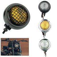 """Motorcycle Grill Vintage 4,5 """"H4 Lâmpada de iluminação Lâmpada de iluminação Bates Farol para Harley Old School Chopper Bobber Cafe Racer Personalizado"""