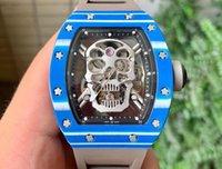 JB 공장 밀러 RM52-01 TRUE TOURBLON 시계 크기 49.8 * 44.3 * 16.4mm 탈진 운동 해골 중공 디자인 케이스 사파이어 미러 방수 기능