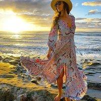 Günlük Elbiseler Ayualin Fener Uzun Kollu Maxi Kadınlar Için Vintage Rayon Mavi Çiçek Baskı V Yaka Püskül Sonbahar Elbise Vestidos Boho Robe