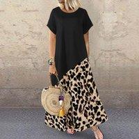 Повседневные платья Zanzea 2021 летние леопарда Maxi платье мода женские напечатанные сарафана с коротким рукавом лоскутное веститос плюс размер халат 5xL