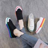 Bayan Kanvas Ayakkabılar 2019 Bahar Sonbahar Rahat Lace Up Siyah Sneakers Kadın Beyaz Ayakkabı Için Öğrenci Düz Sneakers Kadın Sneaker H5Z8 #