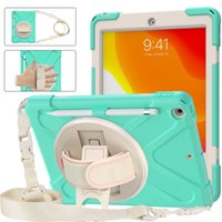 Candy Color Silicon PC Full Body Case Shockproof Hybrid Robot Heavy Duty Kids Safe Rugged With Handle Grip Stand Pencil Holder Carrying Strap For iPad 7 8 10.2