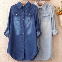 Jeans Top Primavera Donne Vintage Camicette in cotone Chemise Femme Tunics Plus Size Shirt Denim Denim N42902