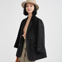 Miscele di lana da donna [Prodotti BLAST] 2021 Autunno e Cappotto invernale Cappotto Collare Colletto Solido Colore solido 100% Donne di lana a doppia faccia