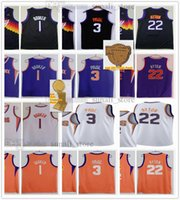 Dikişli 2021 Finaller Basketbol Formaları Chris Paul 3 Devin Booker 1 Deandre Ayton 22 Jersey Erkek Şehir Siyah Beyaz Mor Renk Iyi Boyutu S-XXXL
