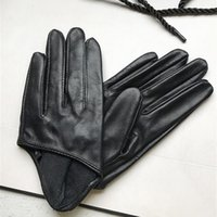 Осенью и зимние женские короткие дизайн овчины перчатки тонкие натуральные кожаные перчатки наполовину Palm Black Glove 8 цветов R025 201021