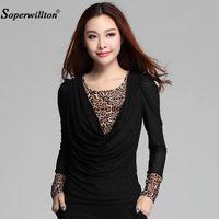 Рубашка рубашки женских блузков Блузка 2021 осень с длинным рукавом V-образным вырезом леопарда кружева лоскутная женщина из бисера топ плюс размер 3XL