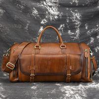 BestForm 2021 Nouveau cuir véritable Vintage Voyant de grande capacité Solide Voyages Sacs Sacs de voyage Sacs Duffle Sac Sacs à main
