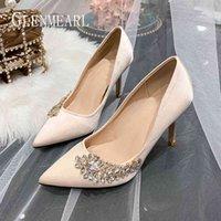 Dress Shoes Sapatos de salto alto feminino, luxuoso, com strass, seda, ponta fina, para festa, plus size, 2WVU