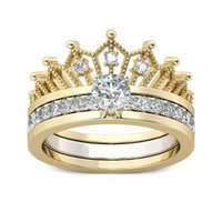 Band Rings of Detachable Crown with Zircon Two Pieces in One Combination Ring for Women Gift