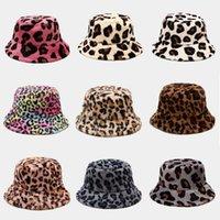 Autumn Faux Fur Leopard cow womens winter bucket hats Thick Warm hat lady Girl Korea Panama Outdoor Travel Velvet Fisherman Hat