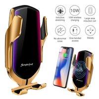 R1 Otomatik Sıkma 10 W Araba Kablosuz Şarj iphone 11 Samsung Huawei LG Kızılötesi Indüksiyon Qi Kablosuz Şarj Araba Telefon Tutucu DHL