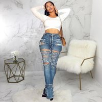 Women's Jeans 2021 High Waist Female Casual Ripped For Women Denim Mom Flare Skinny Woman Bleaching Plus Size Pants Ladies
