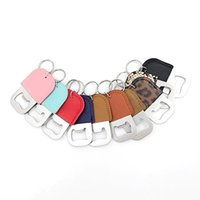 10 Colors Stainless Steel Beer Bottle Opener PU Leather Keychain Pendant Household Kitchen Tool Corkscrew Key Ring GWF10552