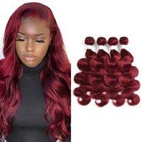 Colored Brazilian Body Wave Human Hair Bundles Weaving for Women 3 4 PCS Red Burg Extensions