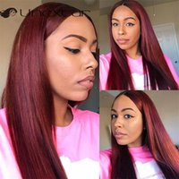 Lace Wigs Unextar Front Human Hair Burgundy Straight 180% Density For Women