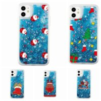 Merry Christmas Santa Claus Bling Glitter Quicksand Liquid Soft TPU Case For Iphone 13 2021 phone13 12 11 Pro Max XR XS 8 6 SE 2020 Sparkle Floating Clear Phone Cover