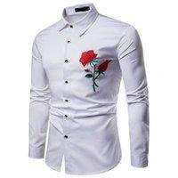 2020 Tops de luxo dos homens Camiseta Slim Fit Camisa Casual Vestido Vermelho Rosa Flor Bordado Floral Manga Longa Masculino UE Tamanho