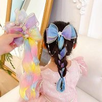 Hair Accessories Children Girls Ribbons Bows Hairpins Baby Pearl Headdresses Little Flower Heads Princess Braided