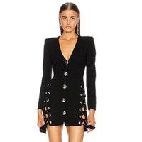 Günlük Elbiseler Kadınlar Kış Seksi Uzun Kollu Derin V Boyun Kuşgözü Siyah Bodycon Bandaj Elbise 2021 Zarif Akşam Parti Vestidos