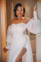 Sexy African Plus Size Wedding Gowns Off Shoulder Long Sleeve High Side Split Pleats Lace Appliques Illusion Bodice Bridal Dresses robes de mariee Custom Made