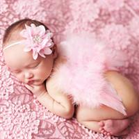 Bambino Angelo Ala + Chiffon Pizzo Elastico Elastico Flower Faband Fotografia Puntelli Set Set neonato Pretty Pink Bianco Piuma Costume Photo Fabands BAW01