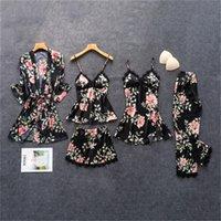 Daeyard إمرأة منامة الحرير الأزهار طباعة الشاملة 5 قطع بيجامة مجموعة الساتان منامة مثير الرباط بيما nightie ملابس النوم المنزل