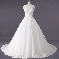 Other Wedding Dresses Luxury Bridal Gown Lace Up SLEEVELESS PLUS SIZE O NECK Anniversary Ceremony DRESS With Train1