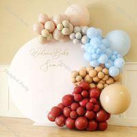 118pcs Tan Cream Peach Balloon Garland 아치 키트 매트 루비 레드 블루 베이비 샤워 성별 드레인 생일 파티 용품