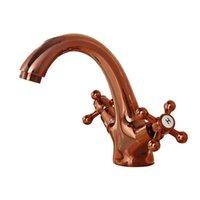 Винтажная раковина для ванной комнаты + трубка розовое золото, антикварная медная вода кухонный бассейн смеситель бассейна, ретро двойной держатель кран Hotcold 109 V2