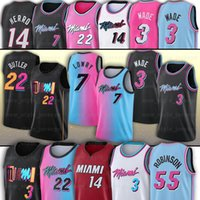 Miami Heat Basketball Jersey Dwayne Dwyane 3 Wade 22 Jimmy Butler 14 Tyler Herro 13 Bam Adebayo 55 Duncan Robinson 25 Kendrick Nunn Stitched Jersey