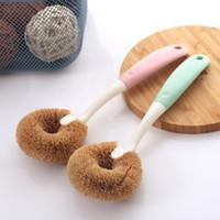 Longa alça de limpeza escova doméstica coco palma Óleo de não-stick para lavar pratos limpos plantas de fibra de fibra de arroz panela de lavagem