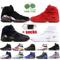 도매 Jumpmans 8 Mens 농구 신발 8S 플레이 오프 발렌타인 데이 ovo 흑인 화이트 GS 도착 트레이너 Luxurys 디자이너 스니커즈 큰
