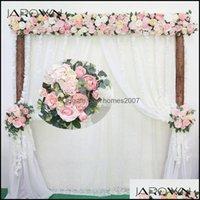 Декоративная праздничная вечеринка поставляет GardenceRative Цветы венки рюмки рюмка искусственный розовый ряд маленький угловой бомионный шелковый фальшивый weddi